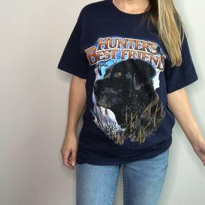 Hunter's Best Friend Black Lab blue graphic tee L